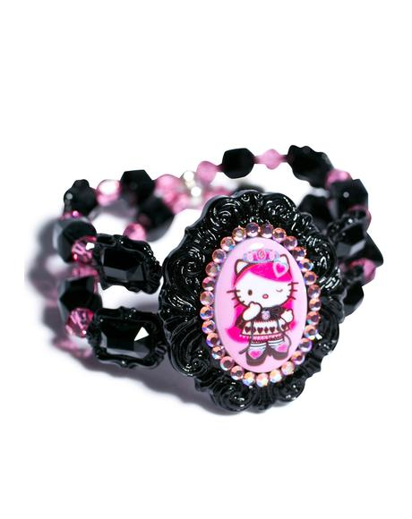 Crystal Queen Of Pink Cameo Cuff Bracelet