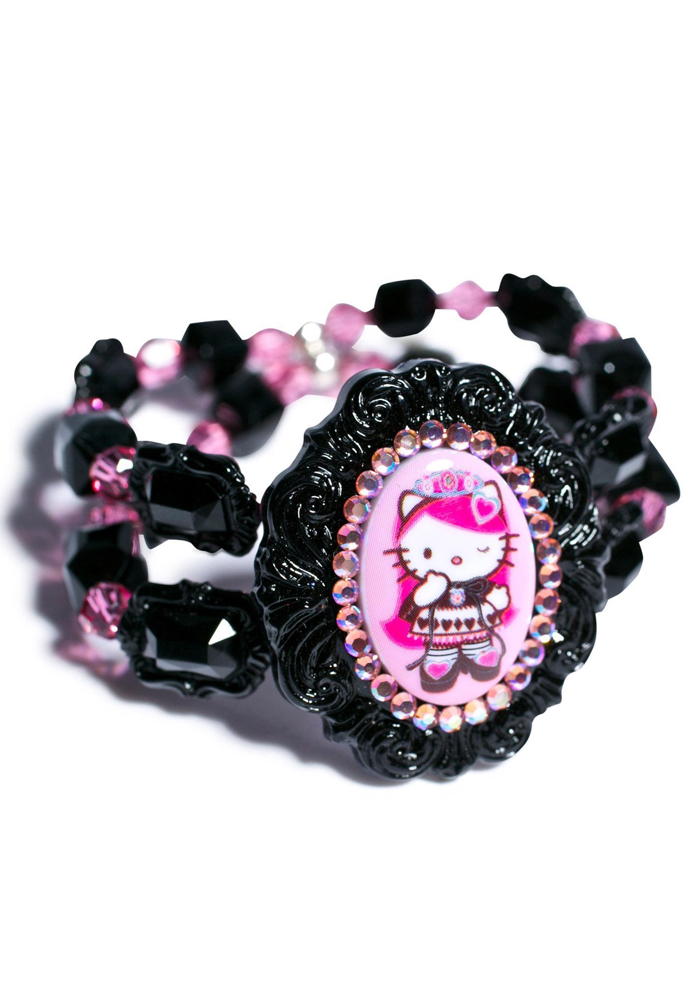 Tarina Tarantino Crystal Queen Of Pink Cameo Cuff Bracelet