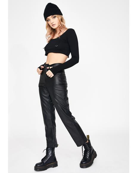 PU Straight Fit Trousers