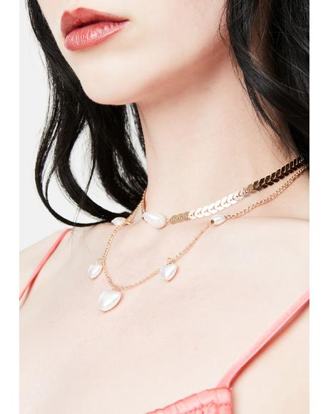 Diva Luxe Pearl Heart Layered Chain Necklace