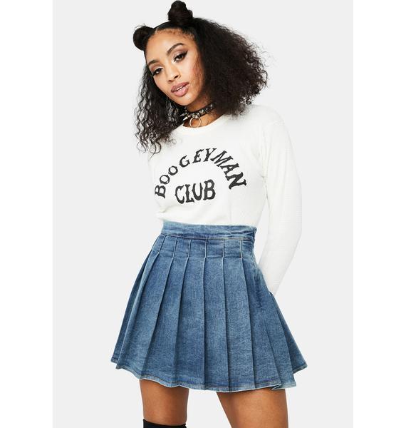 Indigo Daring Denim Pleated Skirt