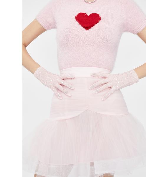 Dyspnea Pink Sequin Gloves