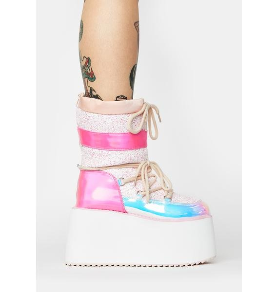 Y.R.U. Glitter Holographic Qronic Winter Boots