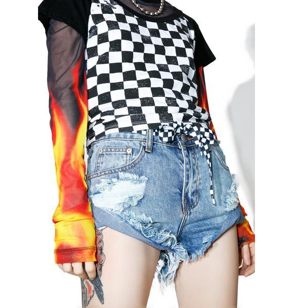 Glamorous Washed Combat Distressed Shorts
