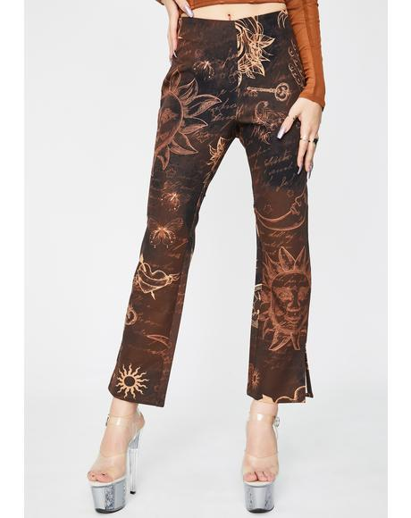 Mystic Tattoo Kick Flare Trousers