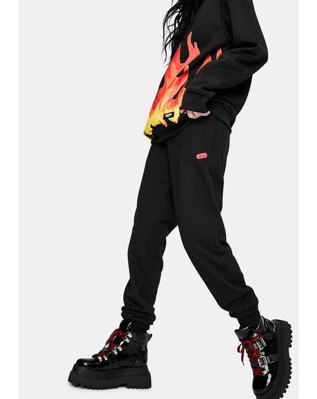 Black Pray Sweatpants