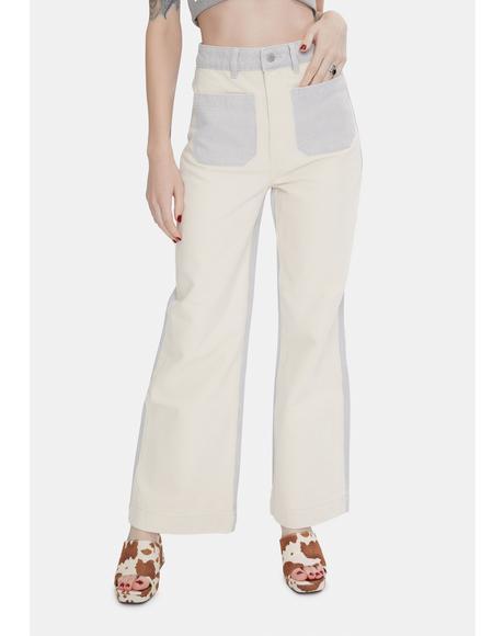 Shell Splice Sailor Wide Leg Jeans