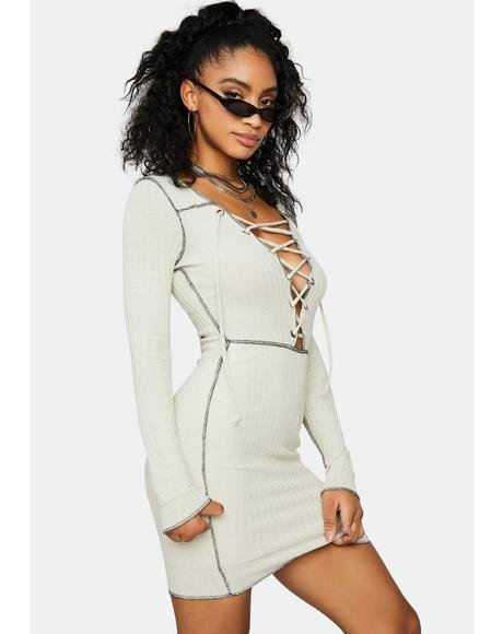 Ivory Catch Me Slippin' Lace Up Mini Dress