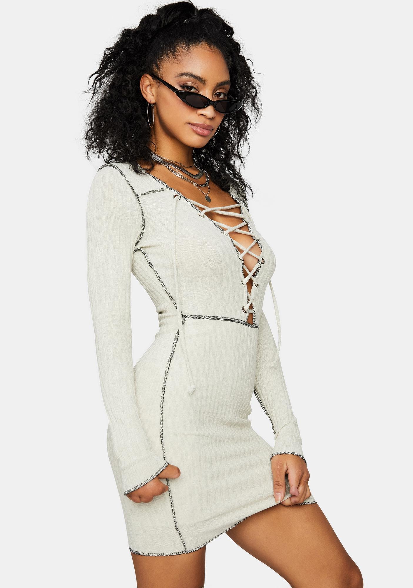 Ivory Catch Me Slippin' Lace Up Mini Dress