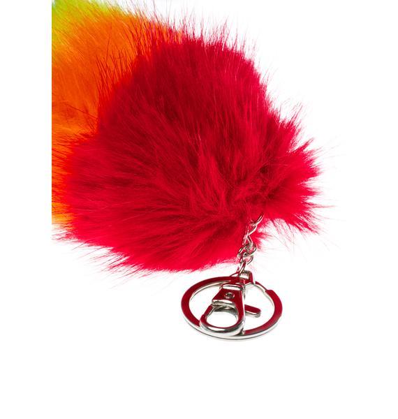 Mini Proud Faux Foxtail Keychain