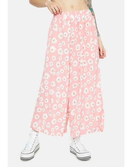 Dancing with Daisy Print Elastic Waist Pants