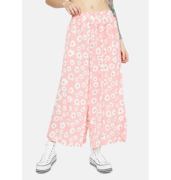 Dancing with Daisy Print Elastic Waist Pants
