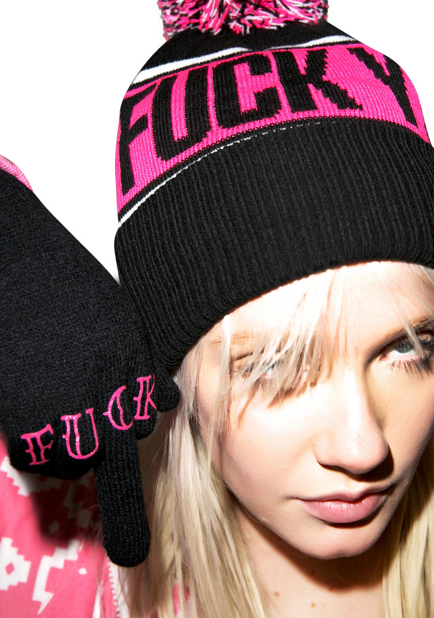 Sourpuss Clothing Fuck Off Knit Gloves