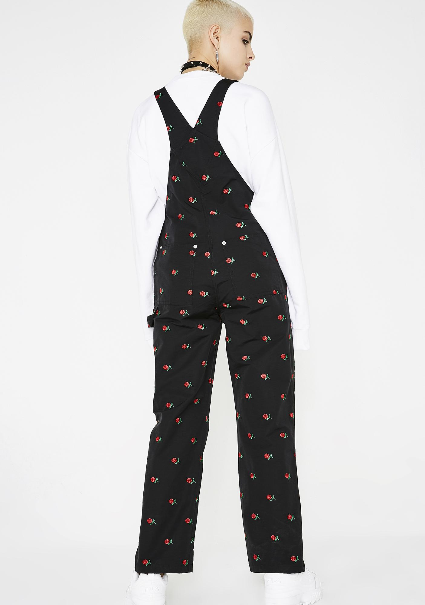 x-Girl Rose Embroidered Overalls
