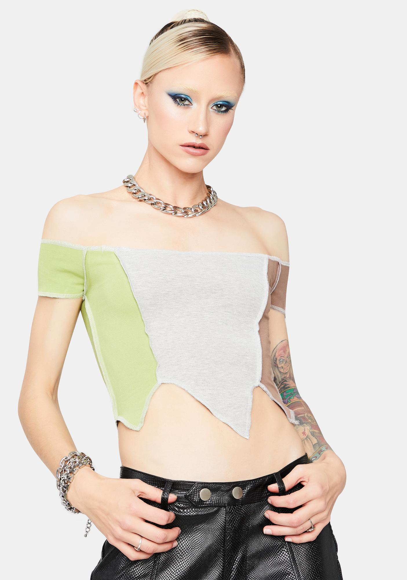 Wasted On You Patchwork Crop Top