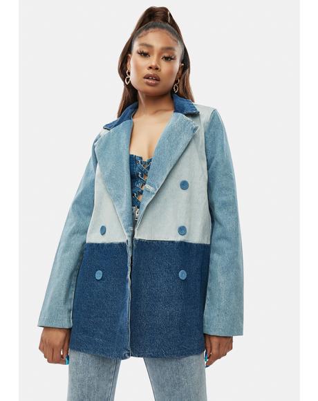 All Bets Off Colorblock Denim Jacket