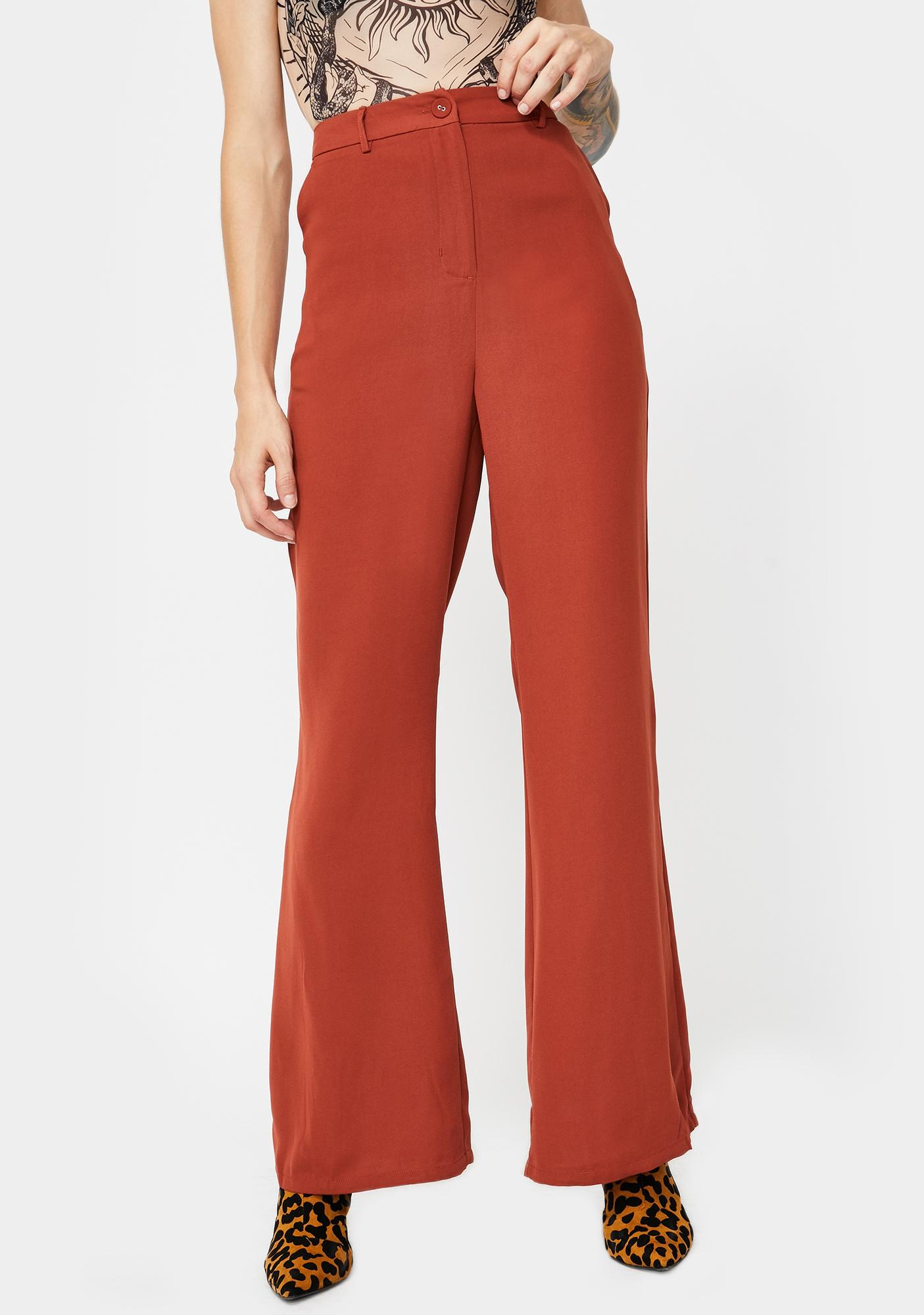 Glamorous Red Rust Flared Trousers