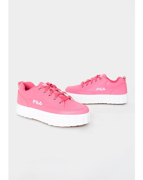 Pink Glo Sandblast Low Sneakers