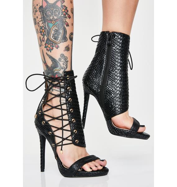 AZALEA WANG Dark Love Me Love Me Not Stiletto Heels