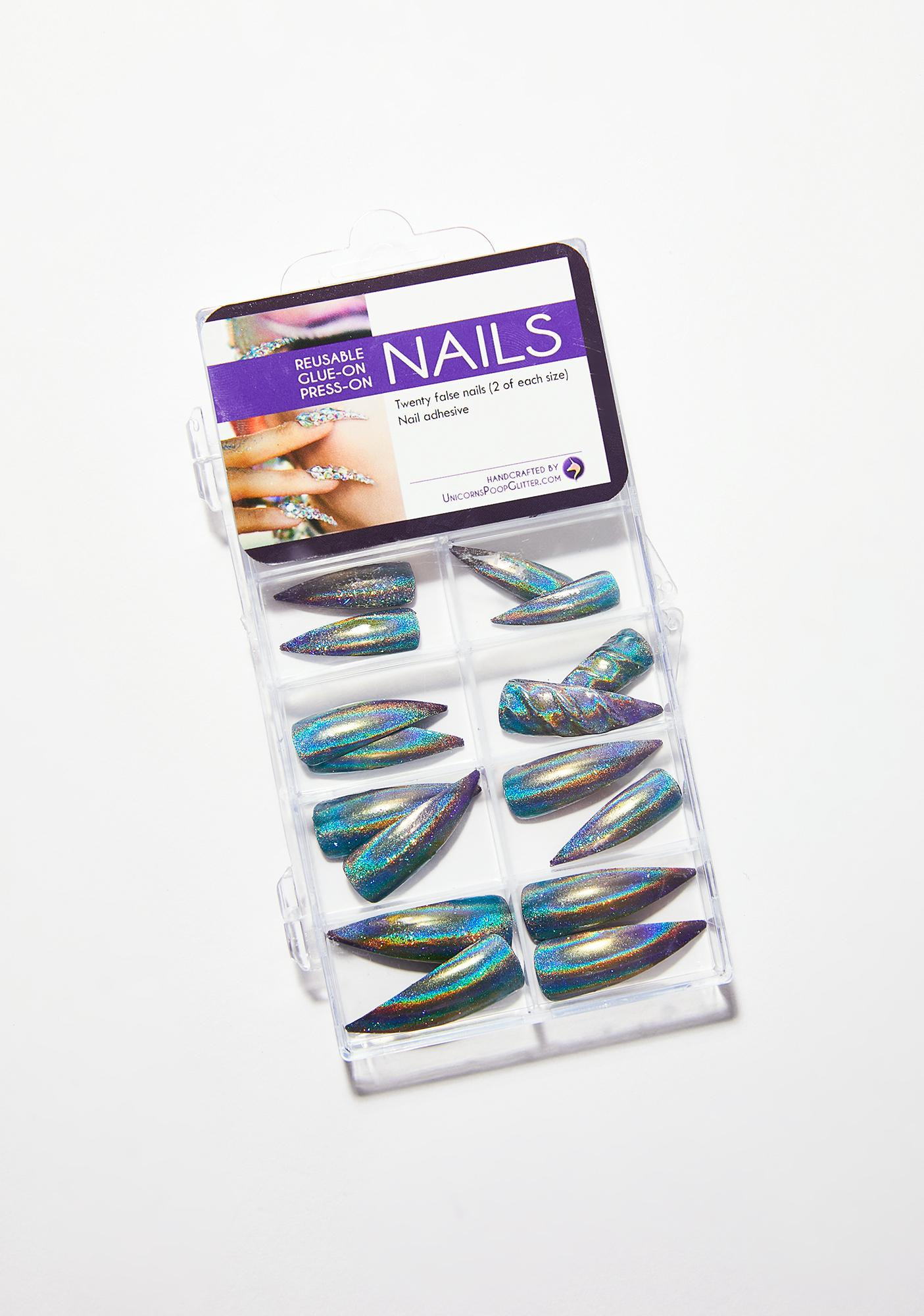 Unicorns Poop Glitter Unicorn Claws Nail Set