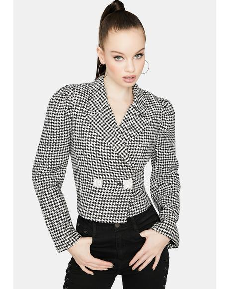 Uhh Duh Houndstooth Cropped Jacket