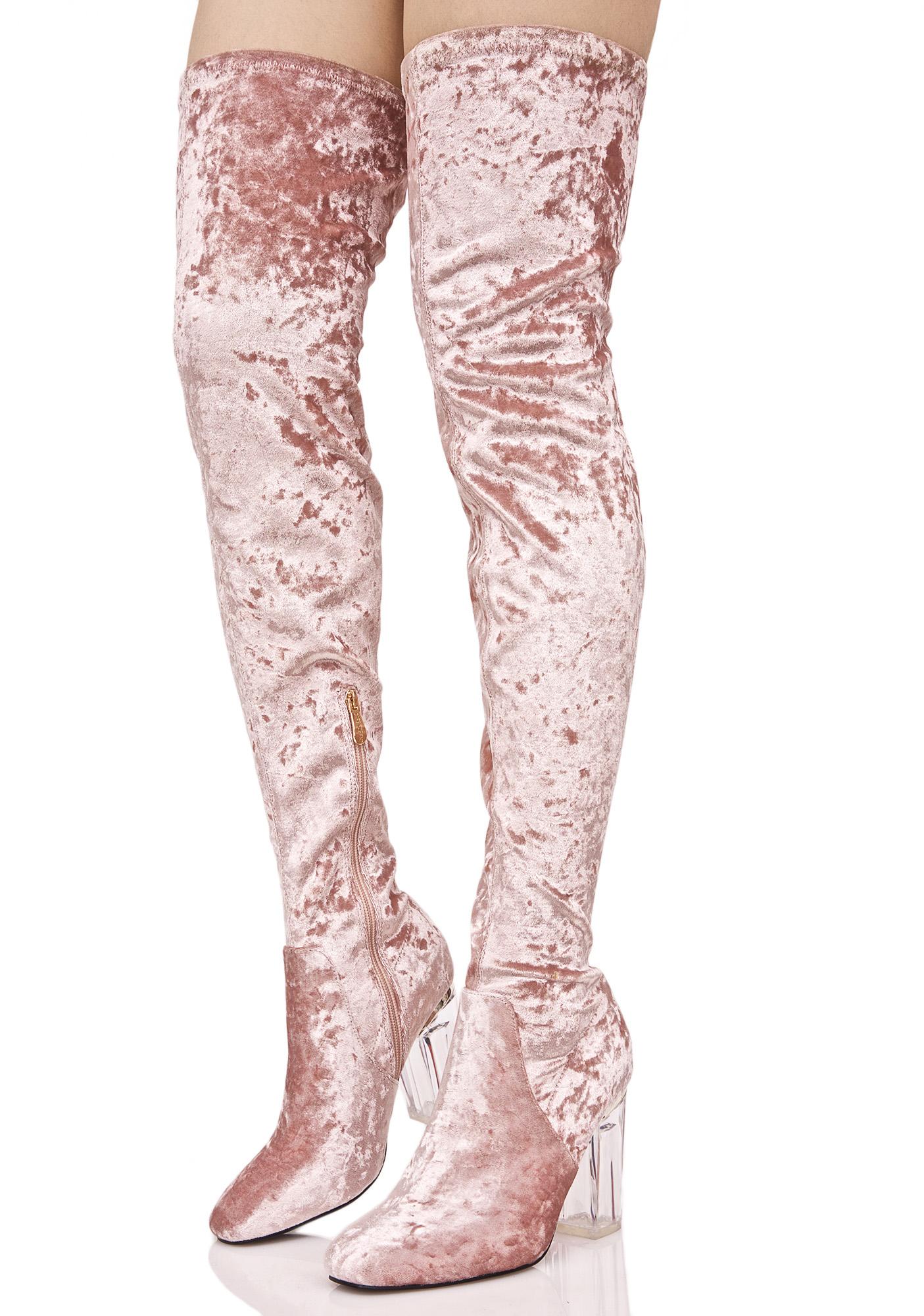 Pink Velvet Thigh High Lucite Boot