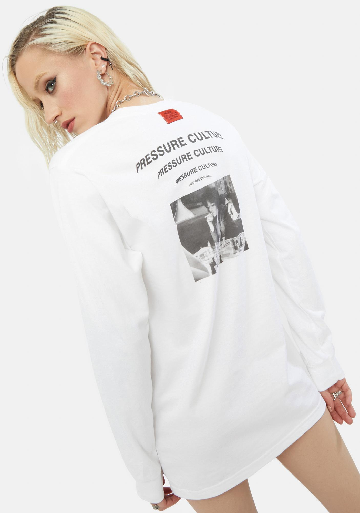 Pressure Clothes Beta White Center Long Sleeve Tee