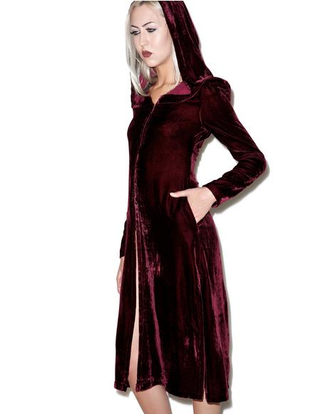 Spectre Oxblood Velvet Hooded Jacket