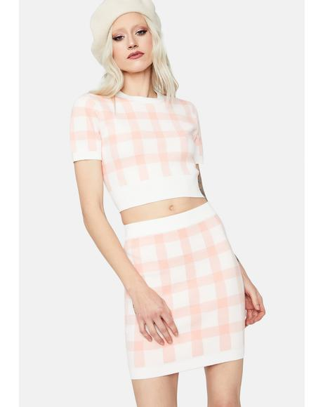 Rosy Cheeks Plaid Bodycon Mini Skirt