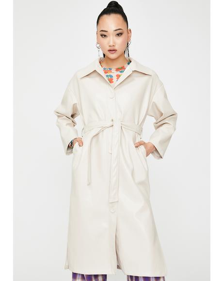 Cream Vegan Leather Trench Coat
