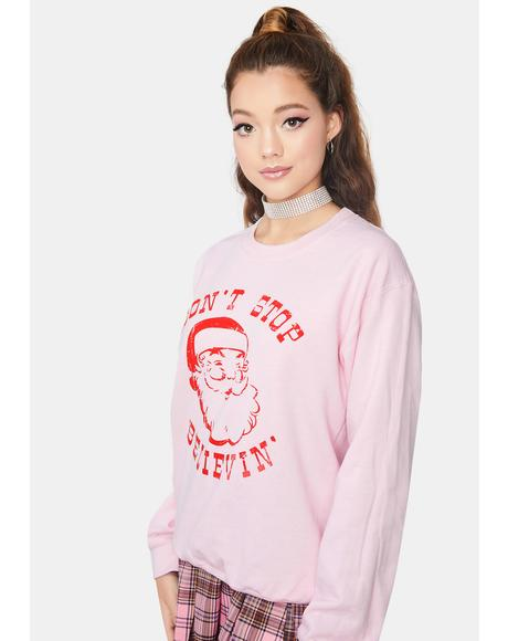 Candy Cane I Do Believe Graphic Sweatshirt