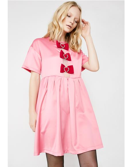 Sparkle Heart Bow Smock Dress