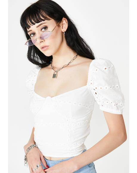 Pure Desire Eyelet Top