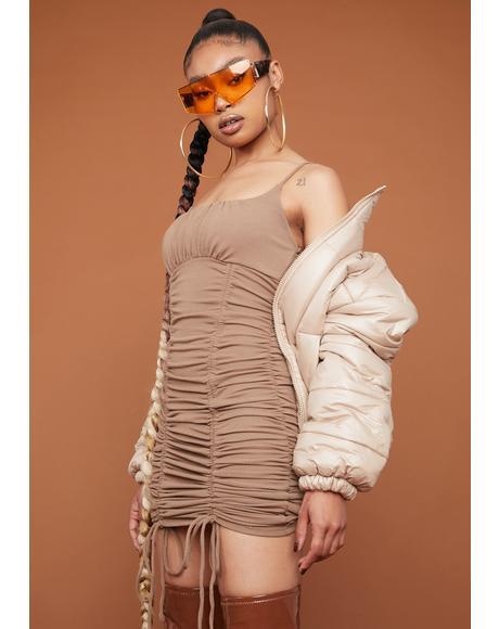 Brunette Only A Feeling Ruched Slip Dress