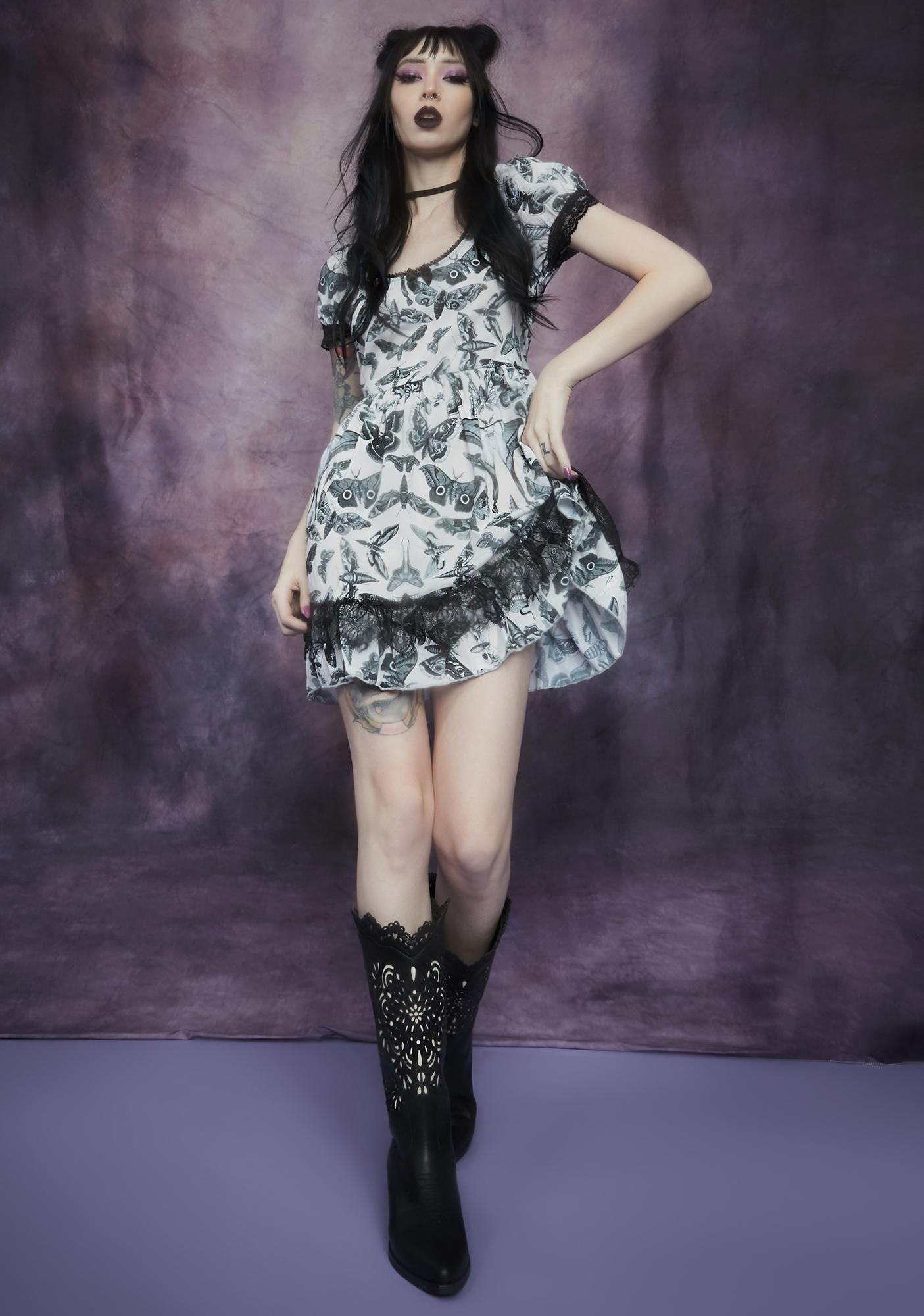 Widow Spirit World Lace Trim Moth Print Dress