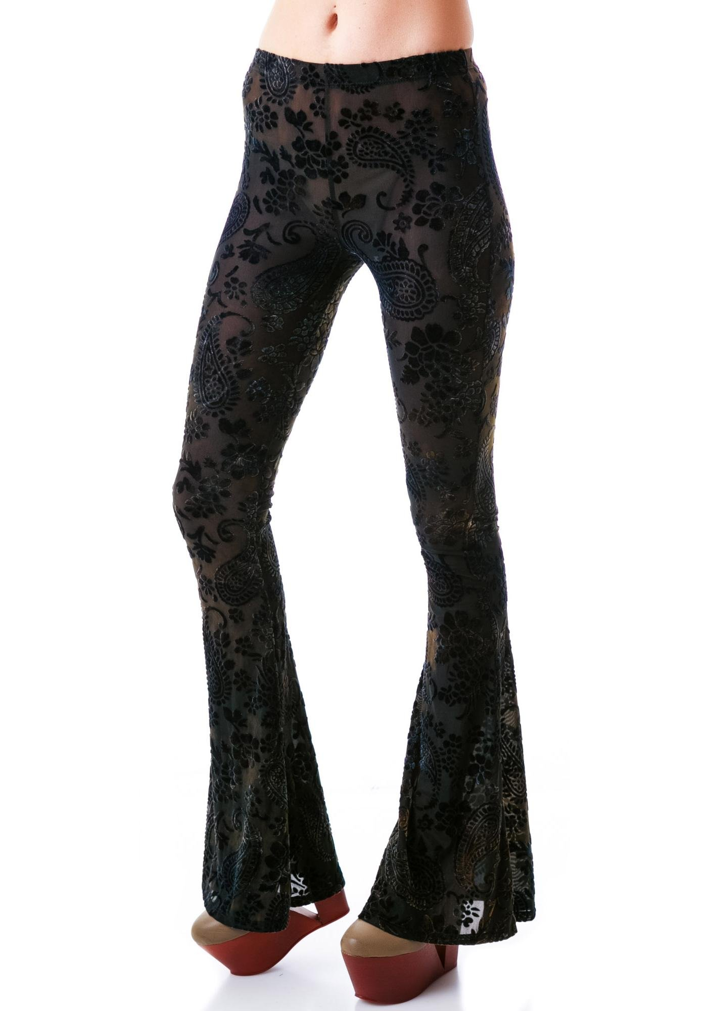 Lip Service Paisley Burnout Flared Pants