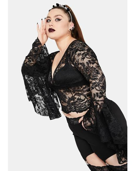 Mystic Shadows Of Moonlight Lace Bell Sleeve Top