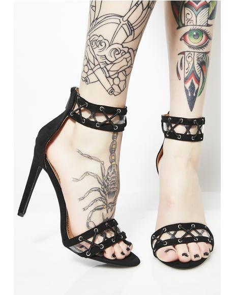 Drive You Crazy Lace-Up Heels