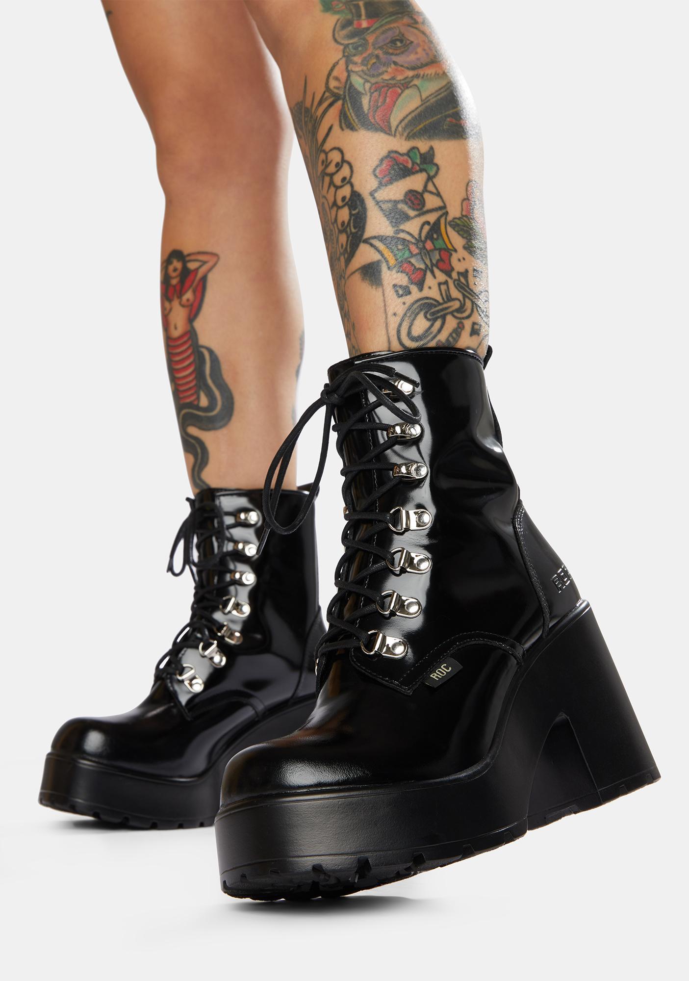 ROC Boots Australia Mission Patent Leather Combat Boots