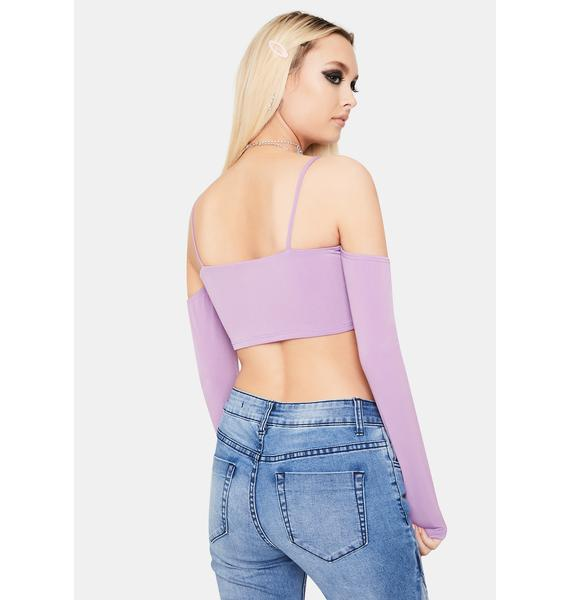 Lilac Heads Will Roll Cold Shoulder Crop Top