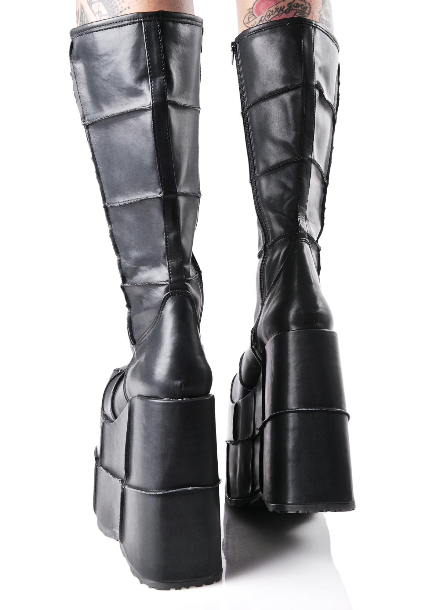 Demonia Stack Patched Platform Boots