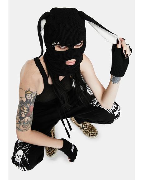 Black Rabbit Beanie Mask