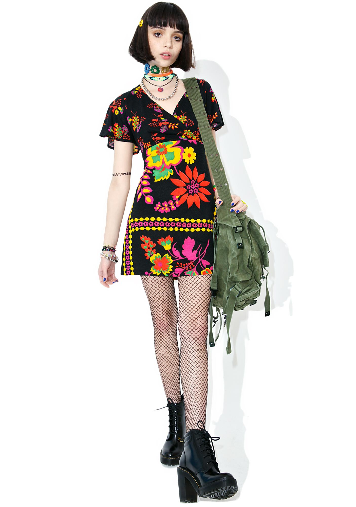 Vintage 90s Flutter Sleeve Mini Dress