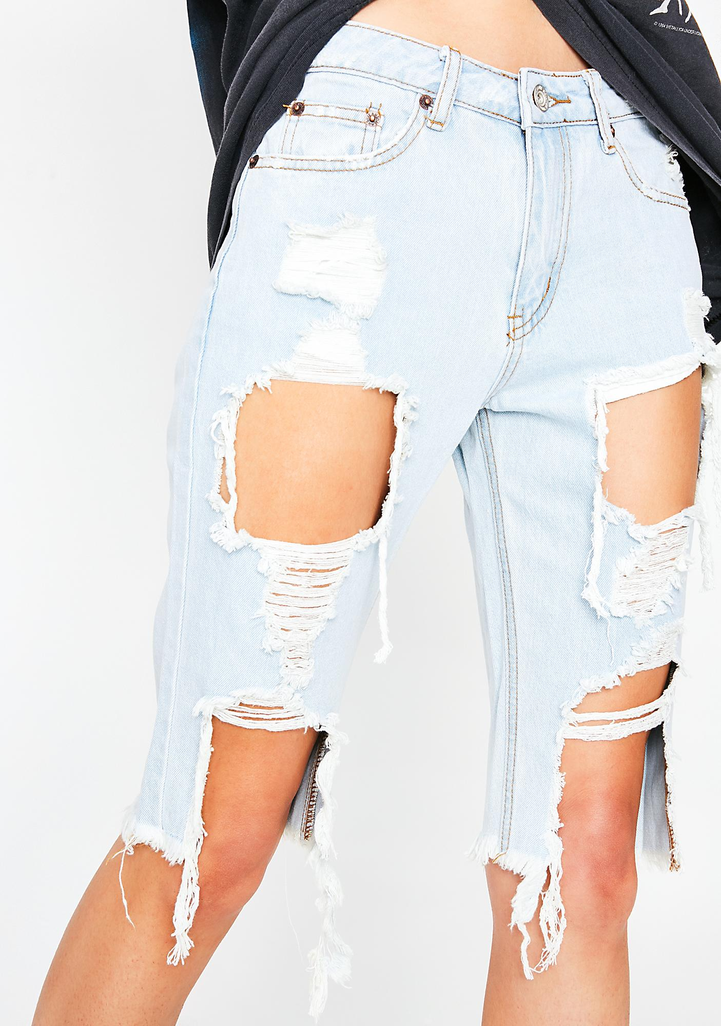 Sky Coastline Cruisin' Distressed Shorts