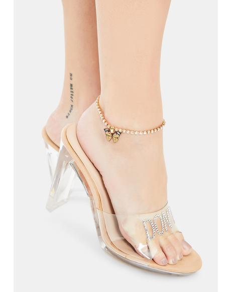 Gold I Fly Too Rhinestone Butterfly Anklet