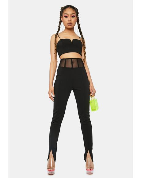 Late Ur Boo Tonight Mesh Panel Pants Set