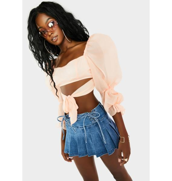 Peach First Date Puff Sleeve Top