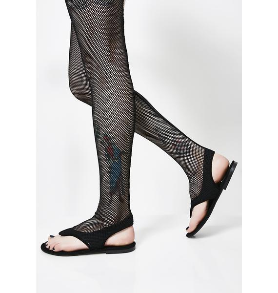 Dark Rush Thigh High Fishnet Sandals