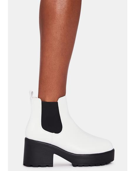White Kai Chunky Chelsea Boots