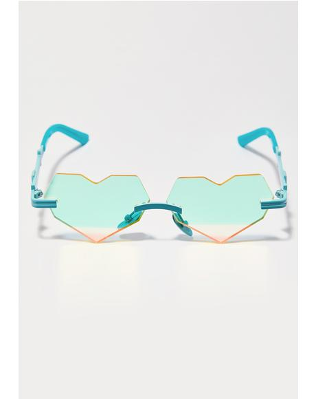 Teal Be Heart Sunglasses